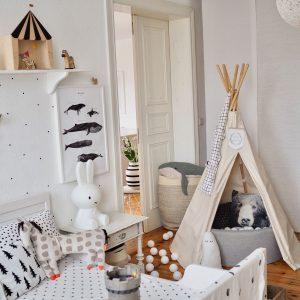 Kinderzimmer Punkte Wandgestaltung Wohnkonfetti